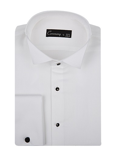 D'S Damat Slim Fit Dokulu Smokin Gömlek Beyaz
